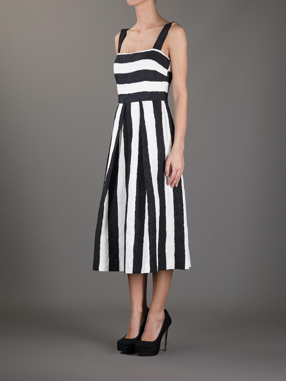 Dolce Amp Gabbana Striped Dress In White Lyst