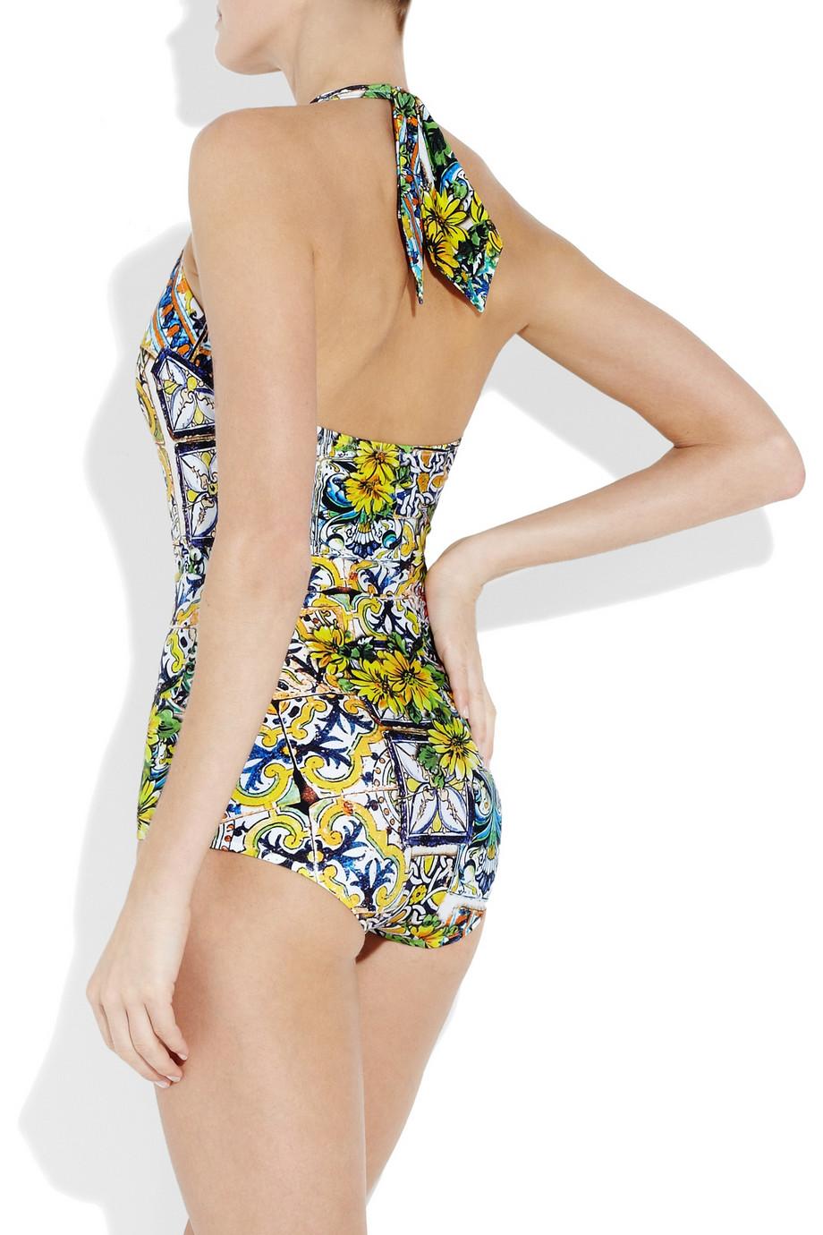 Dolce & gabbana Printed Halterneck Swimsuit in Yellow
