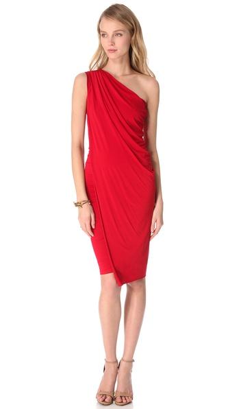 Donna karan One Shoulder Cocktail Dress in Red - Lyst