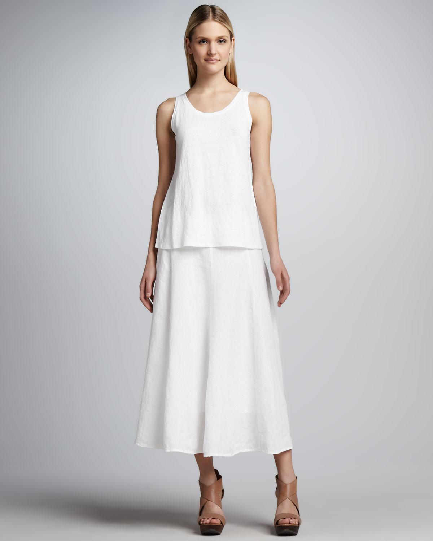 f43d5cc9968 Lyst - Eileen Fisher Handkerchief Linen Cinchable Long Skirt in White