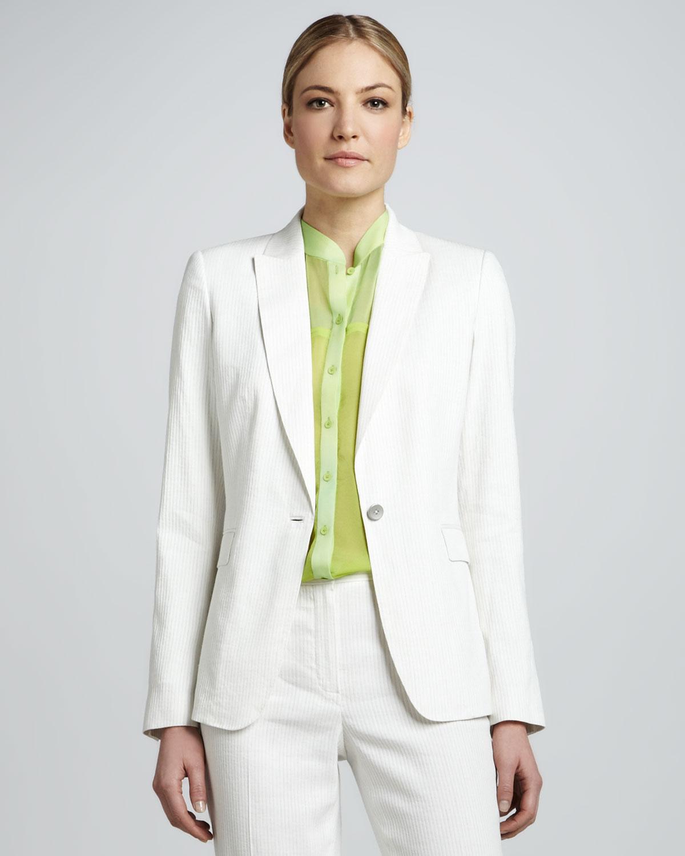 Elie Tahari Womens Darcy Onebutton Seersucker Suit Jacket In White