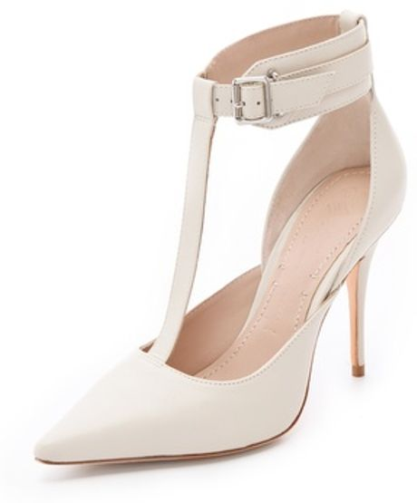 Elizabeth And James Saucy Ankle Cuff Pumps in White (bone)