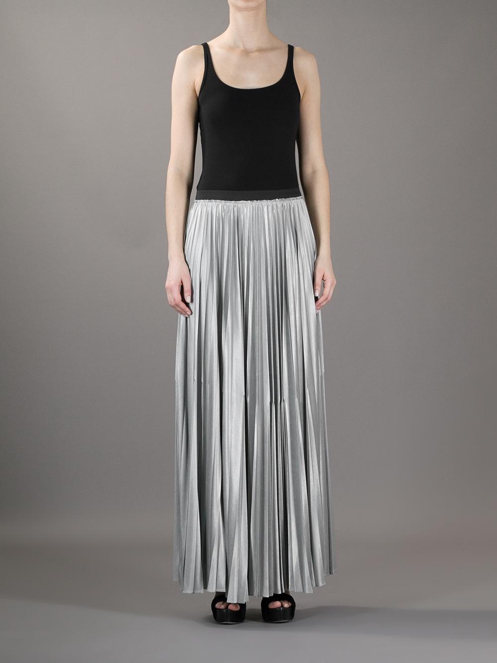 Enza costa Pleated Maxi Skirt in Metallic | Lyst