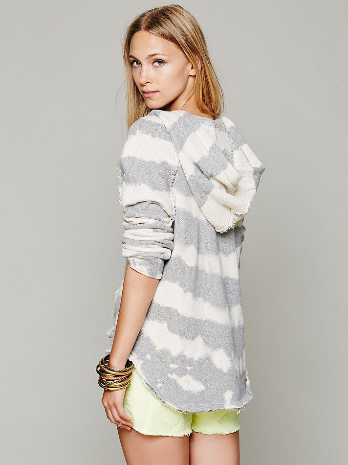 Free People Tie Dye Stripe Hoodie in Ivory / Grey (White)