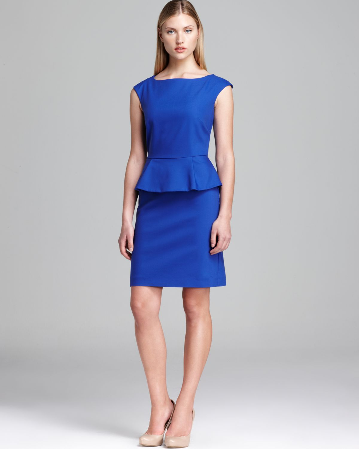 French Connection Dress Peplum In Blue Lyst
