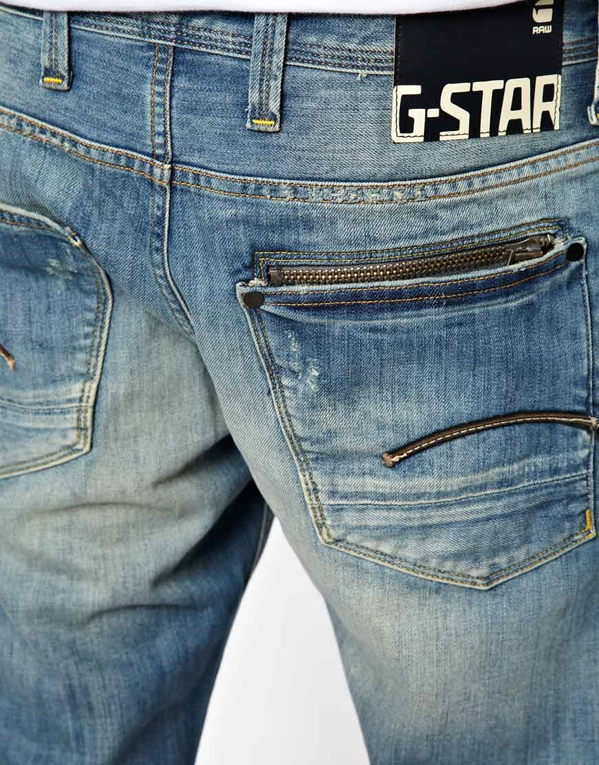 g star raw g star jeans attacc straight light aged in blue. Black Bedroom Furniture Sets. Home Design Ideas