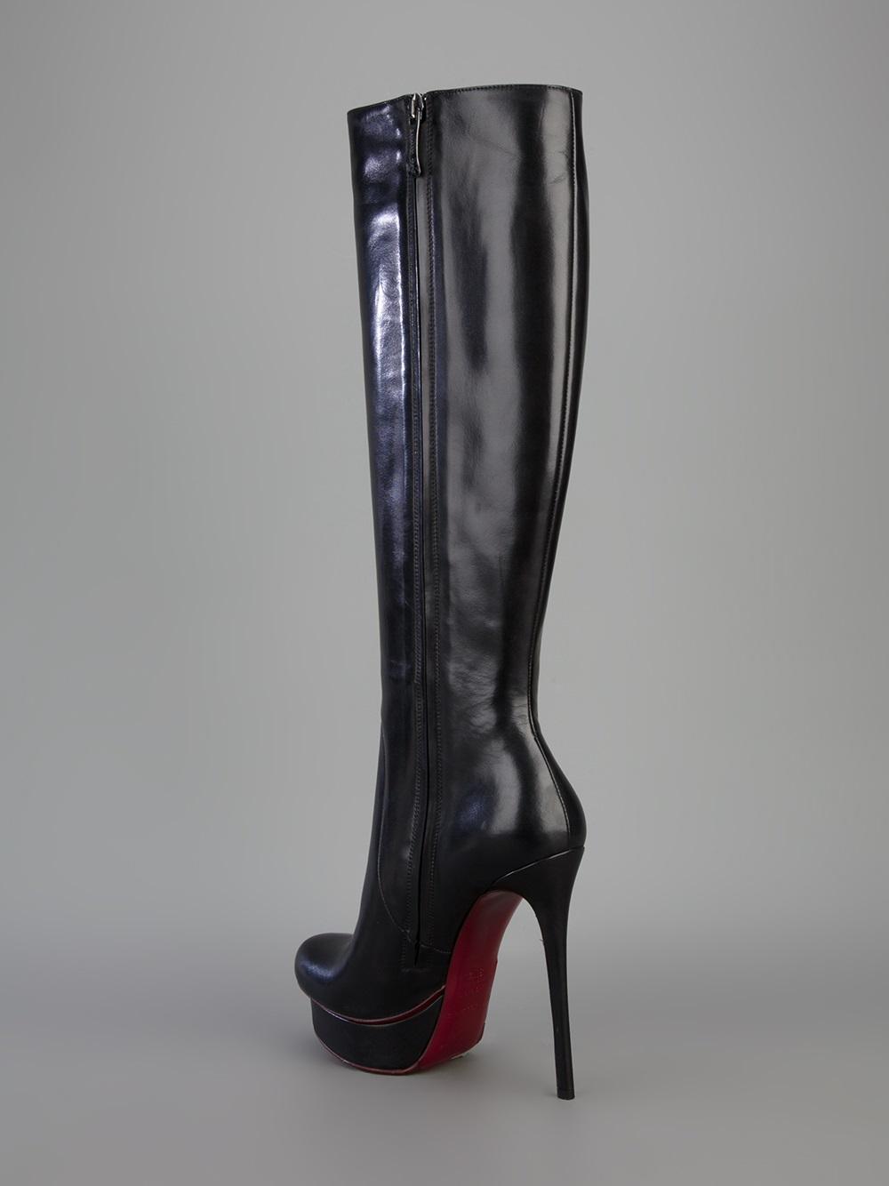 lyst gianmarco lorenzi knee high platform boot in black rh lyst com