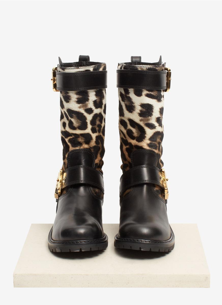 leopard biker boots