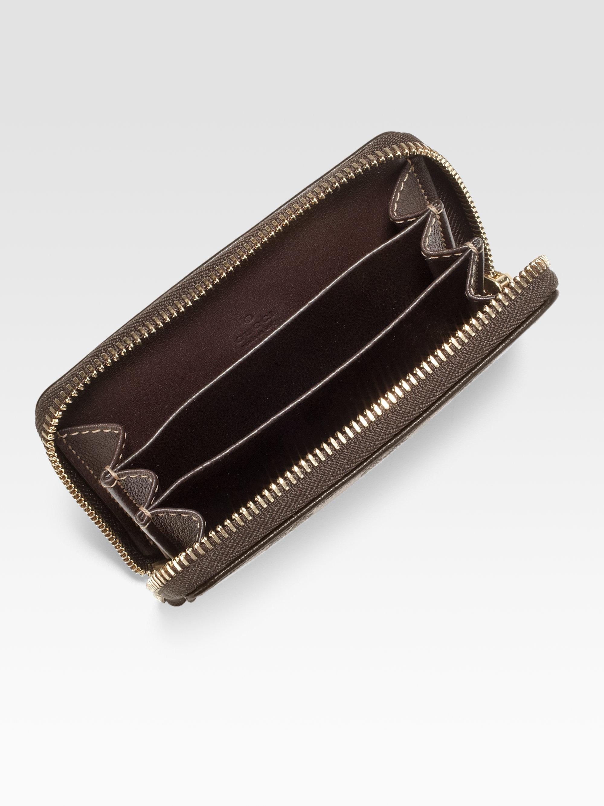 59e9988c4ea Lyst - Gucci Ssima Leather Zip-Around Card Case in Black