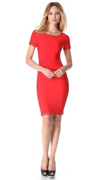Hervé léger Short Sleeve Cutout Dress in Red - Lyst