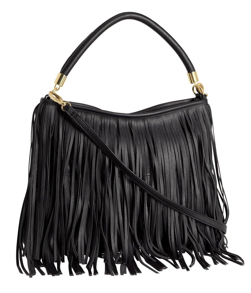 h m fringed bag in black lyst