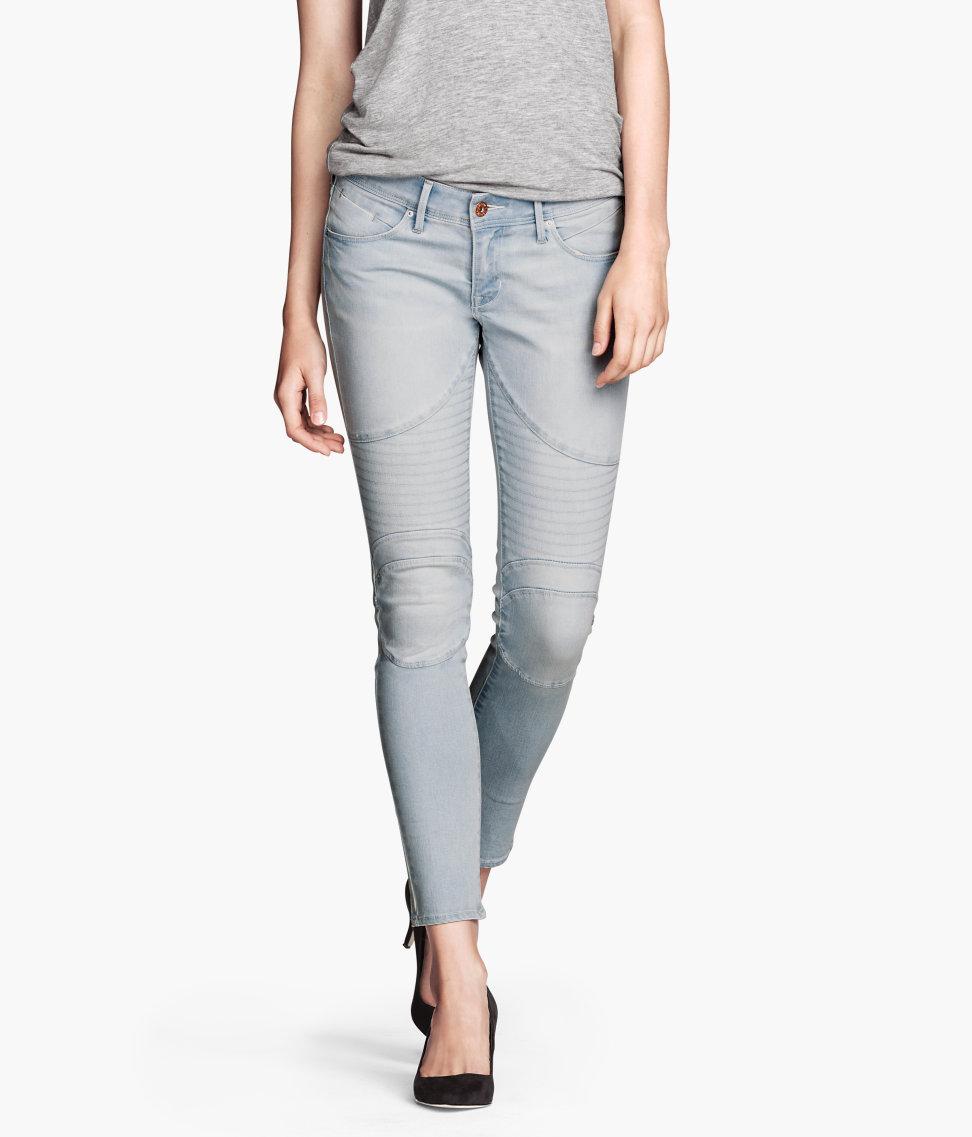 H&M Skinny Low Ankle Jeans in Light Denim Blue (Blue)