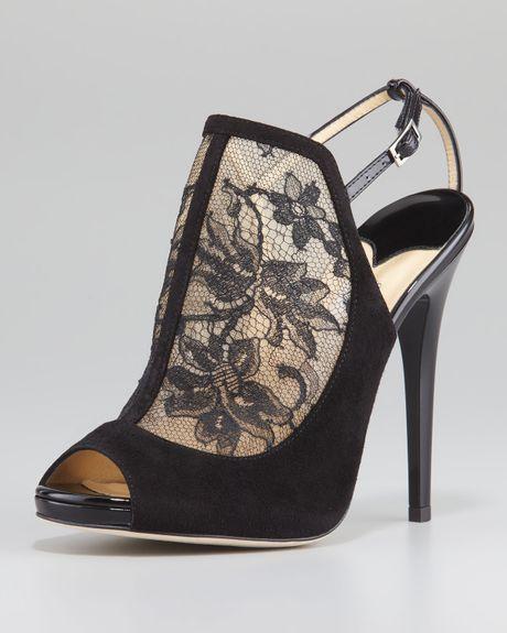 Jimmy Choo Maylen Lace Suede Platform Sandal in Black | Lyst