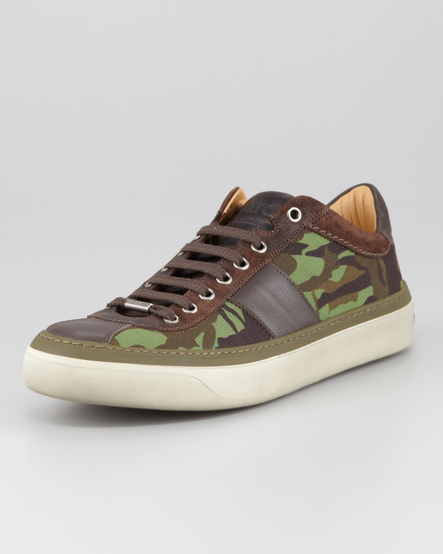 jimmy choo portman camoprint lowtop sneaker in multicolor for men green lyst. Black Bedroom Furniture Sets. Home Design Ideas