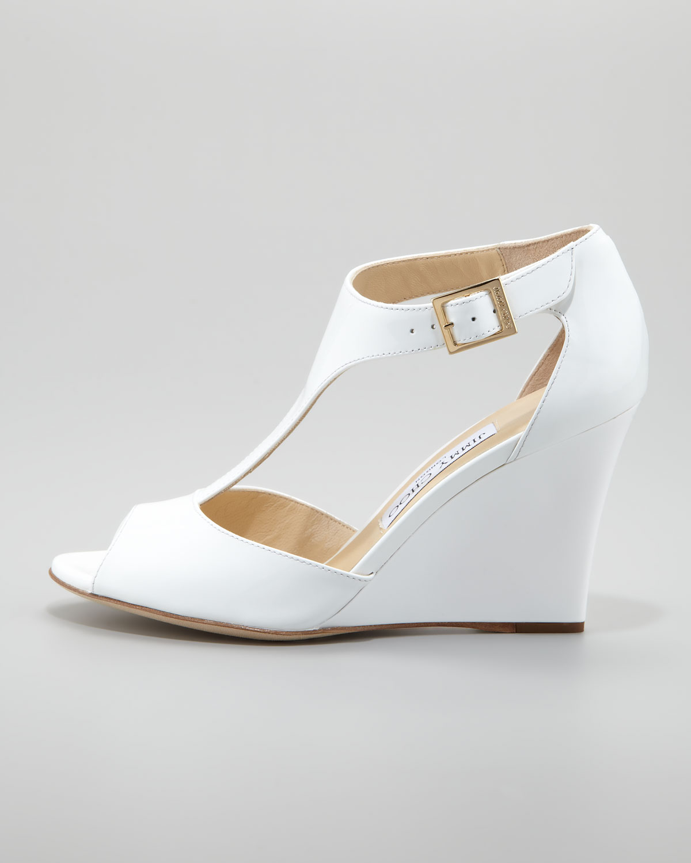bdc2f529c122 ... sweden lyst jimmy choo token patent tstrap wedge sandal white in white  cfdea 16c3b