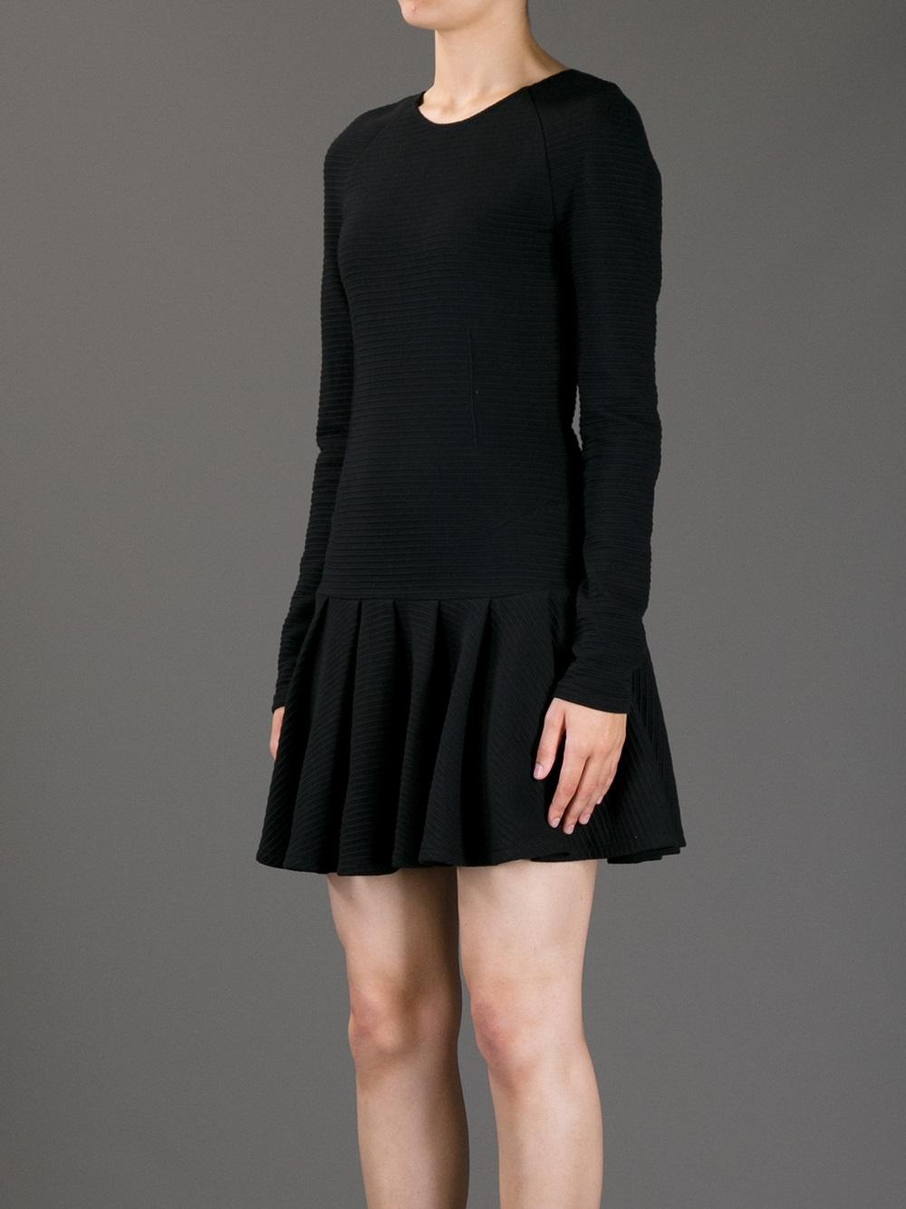 Lyst Kenzo Pleated Skater Dress In Black
