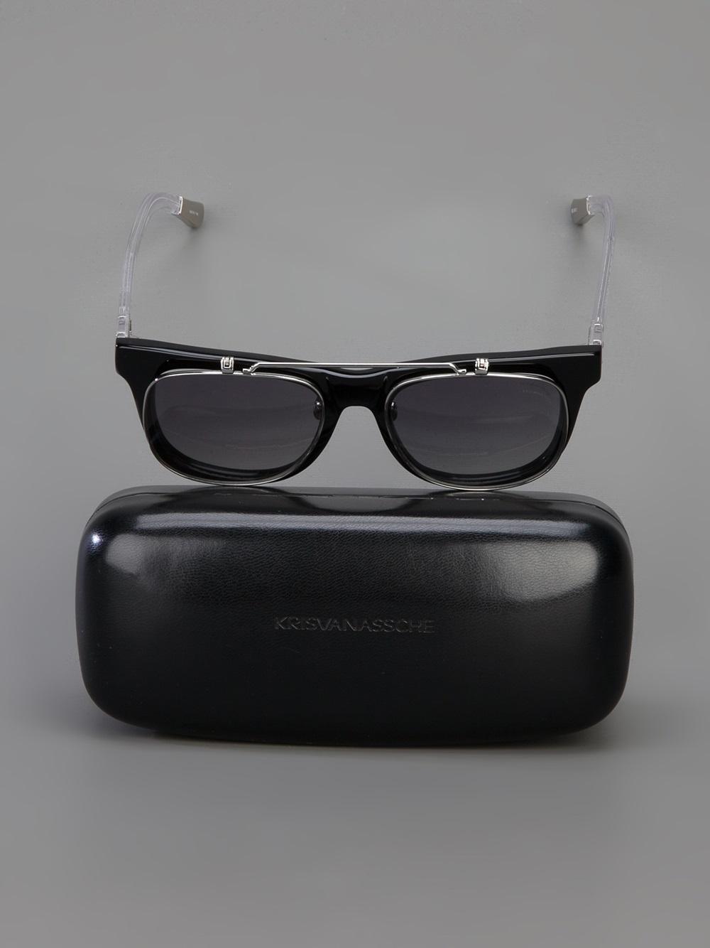Kris Van Assche Flipup Sunglasses in Black for Men