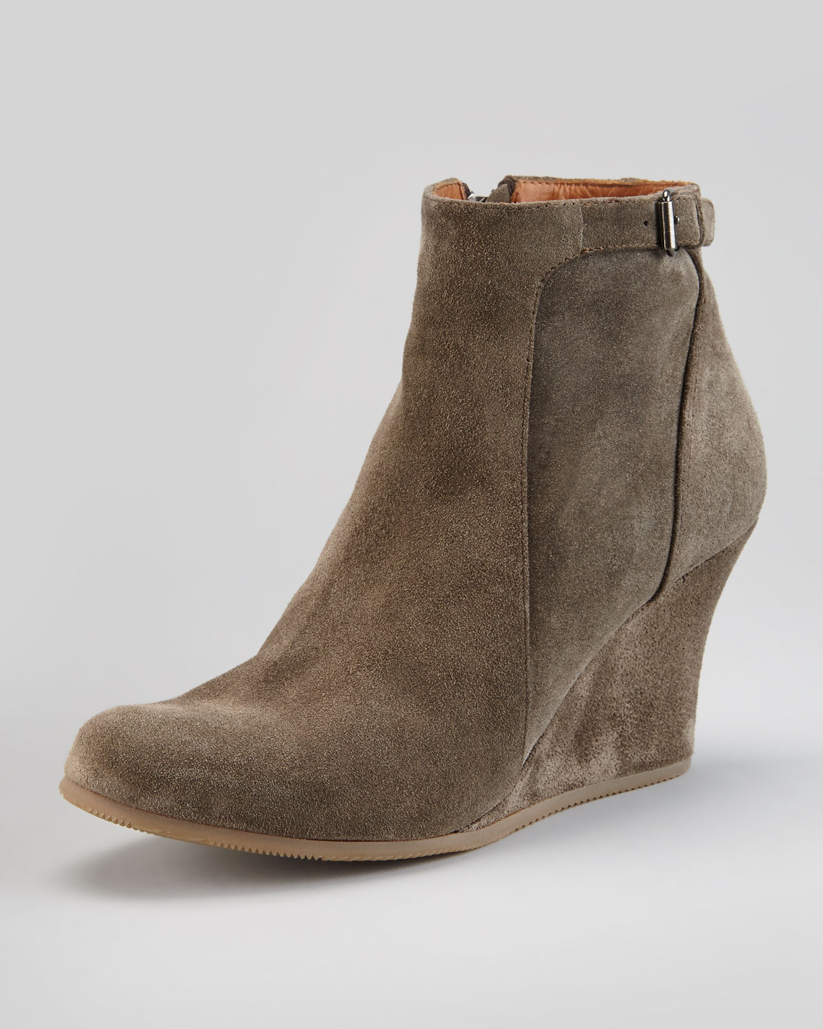 49b50ca46511 Lyst - Lanvin Suede Wedge Ankle Boot Gray in Gray