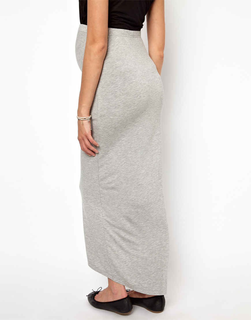 0d1e709e4 Elle Macpherson Mamalicious Jersey Maxi Skirt in Gray - Lyst