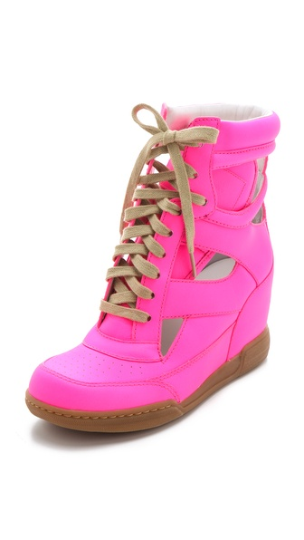 Marc By Marc Jacobs Neon Cutout Wedge Sneakers in Pink - Lyst