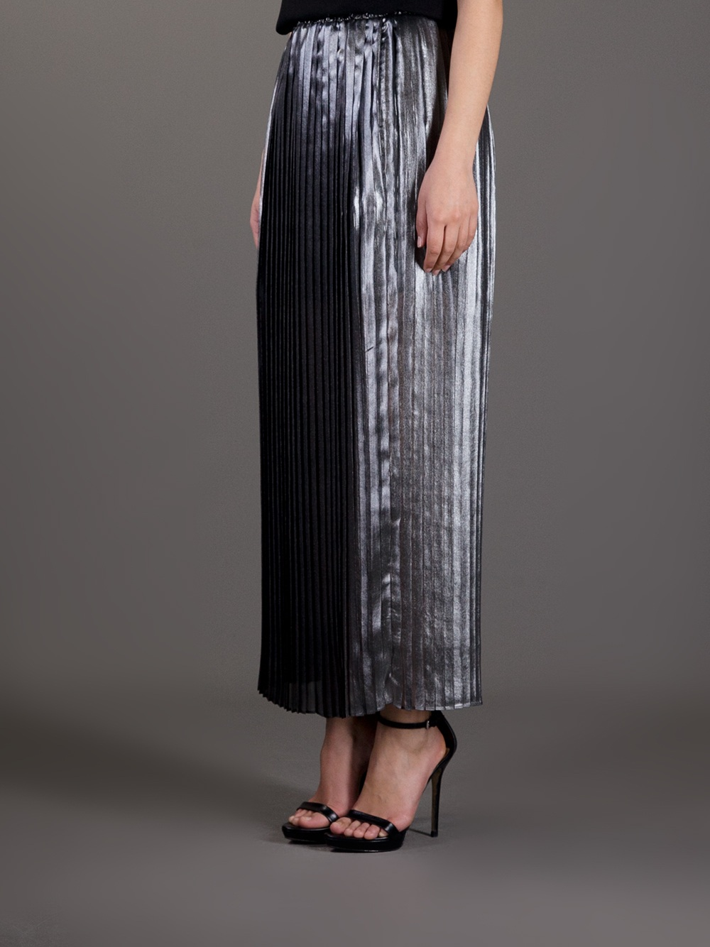 Michael Michael Kors Long Pleated Metallic Skirt In