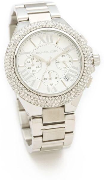 Michael Kors Layton Glitz Chronograph Watch in Gray (silver)