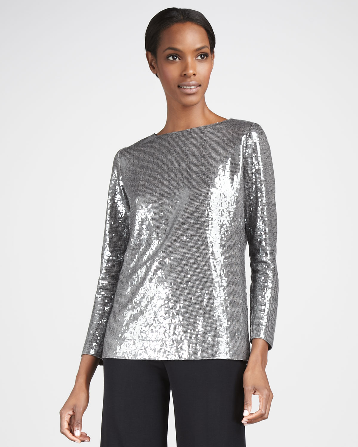 Misook Womens Sequined Top in Silver (PEWTER MULTI) | Lyst