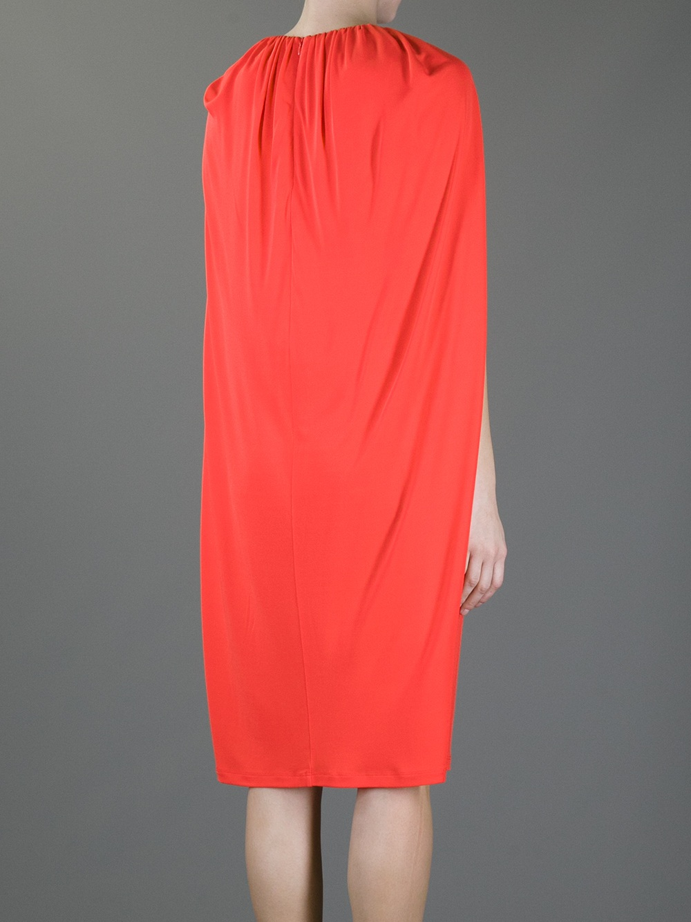 Msgm Cape Dress In Orange Lyst