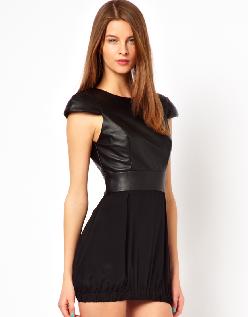 Naven Faux Leather Party Dress in Black | Lyst