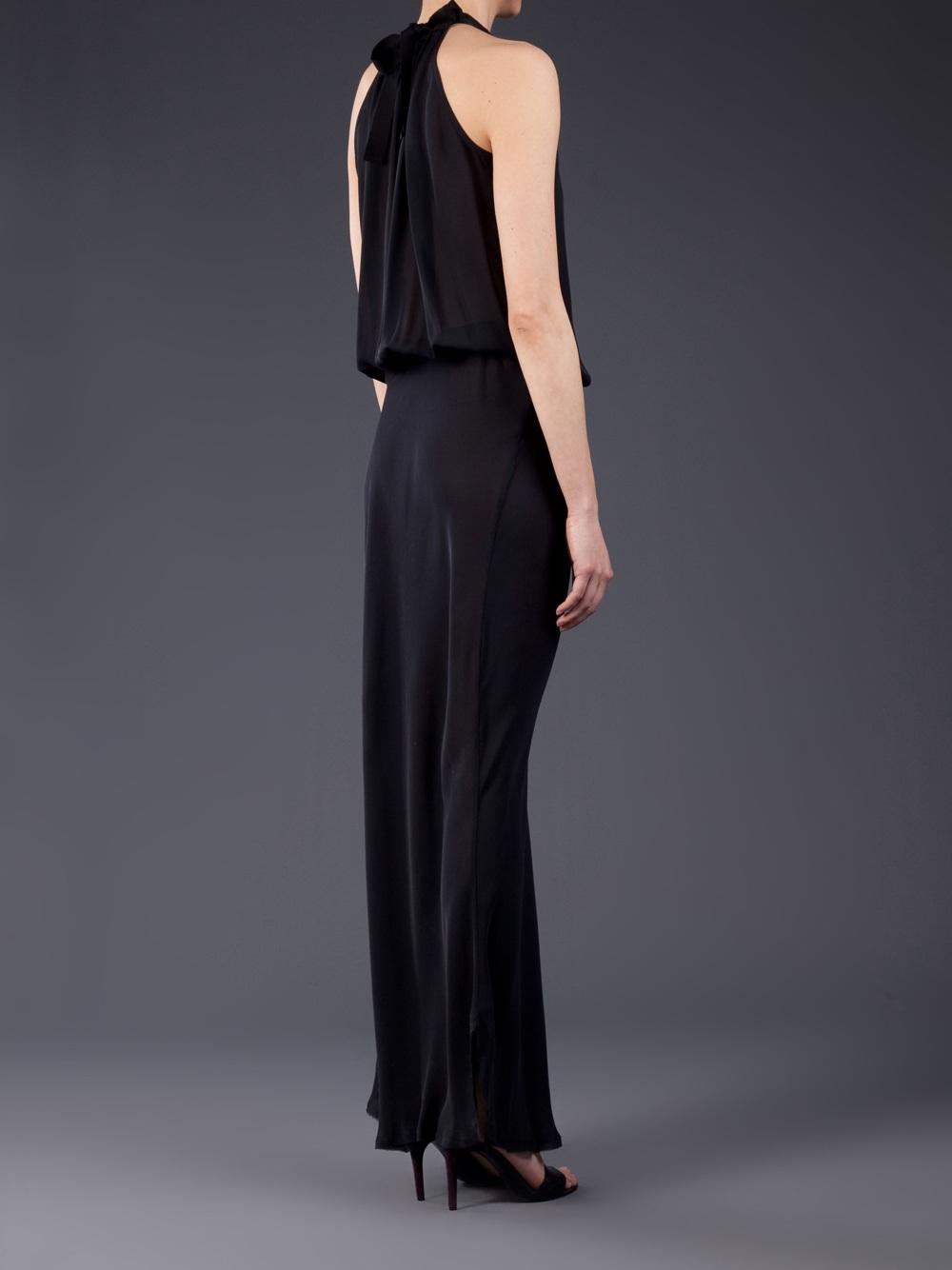 Lyst Nili Lotan Ribbon Tie Halter Dress In Black