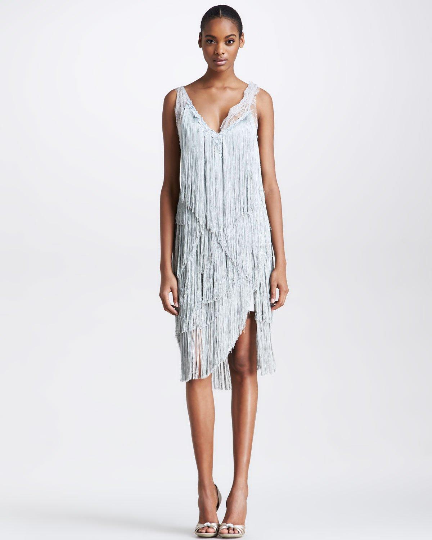 Lyst - Nina Ricci Fringe Cocktail Dress in Gray