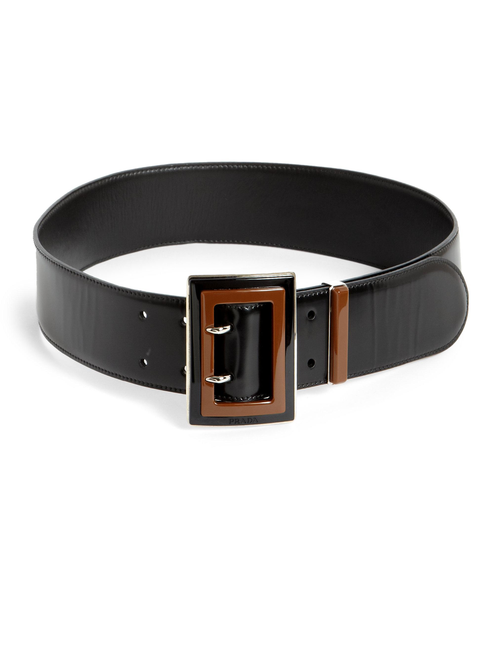 Prada Cinture Patent Leather Belt in Black (BLACK-BROWN) | Lyst