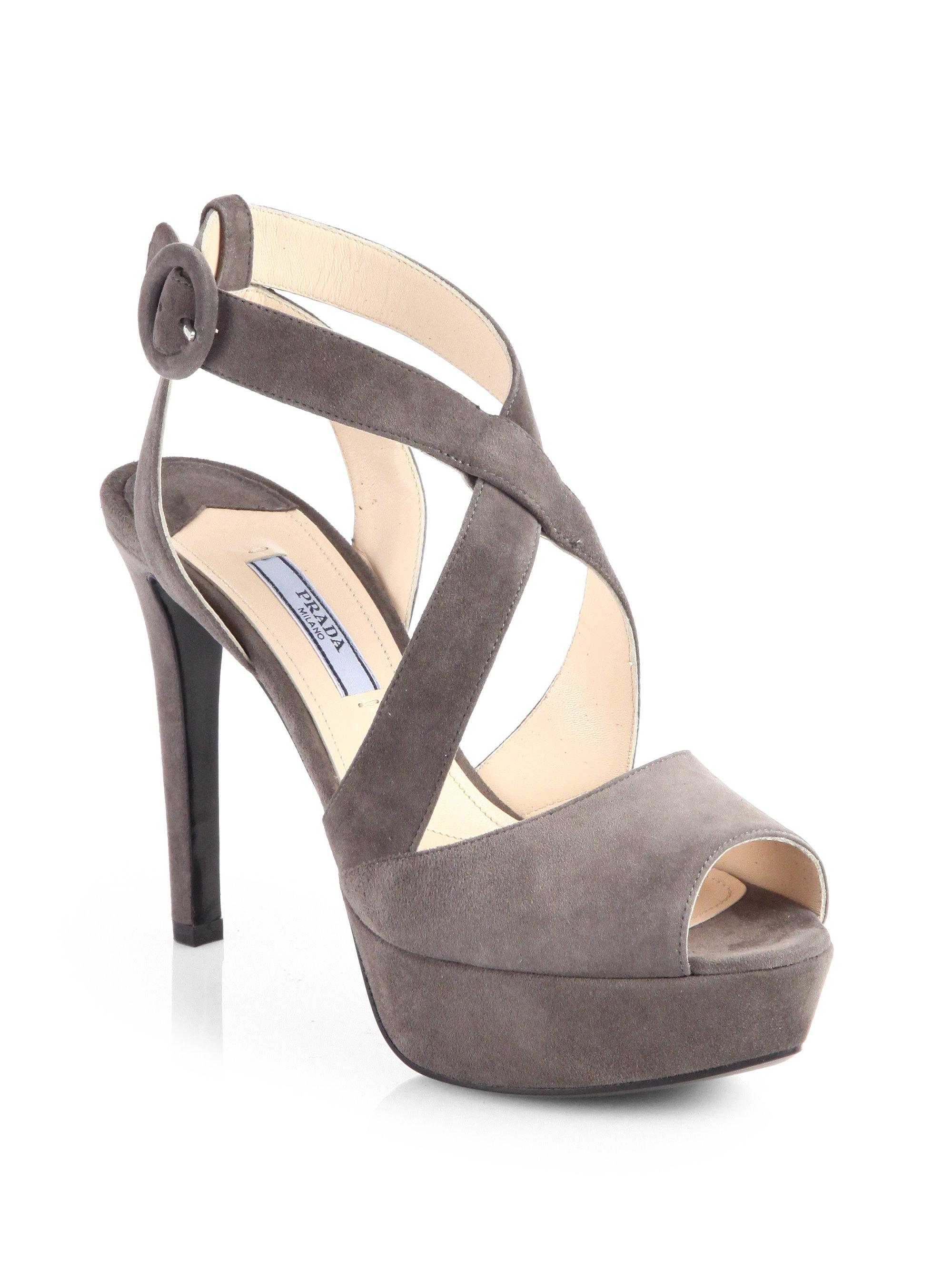 Prada Suede Crisscross Platform Sandals
