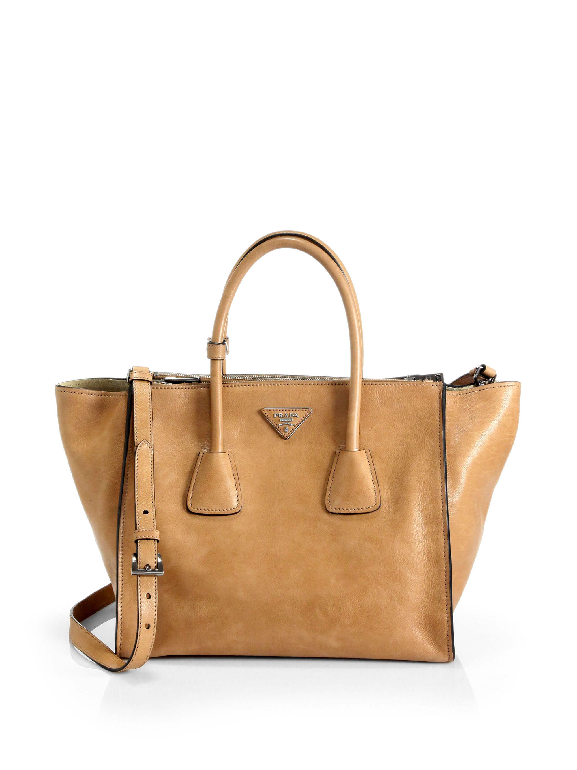 4fe94a648afb30 Prada Glace Calf Twin Pocket Tote in Brown - Lyst