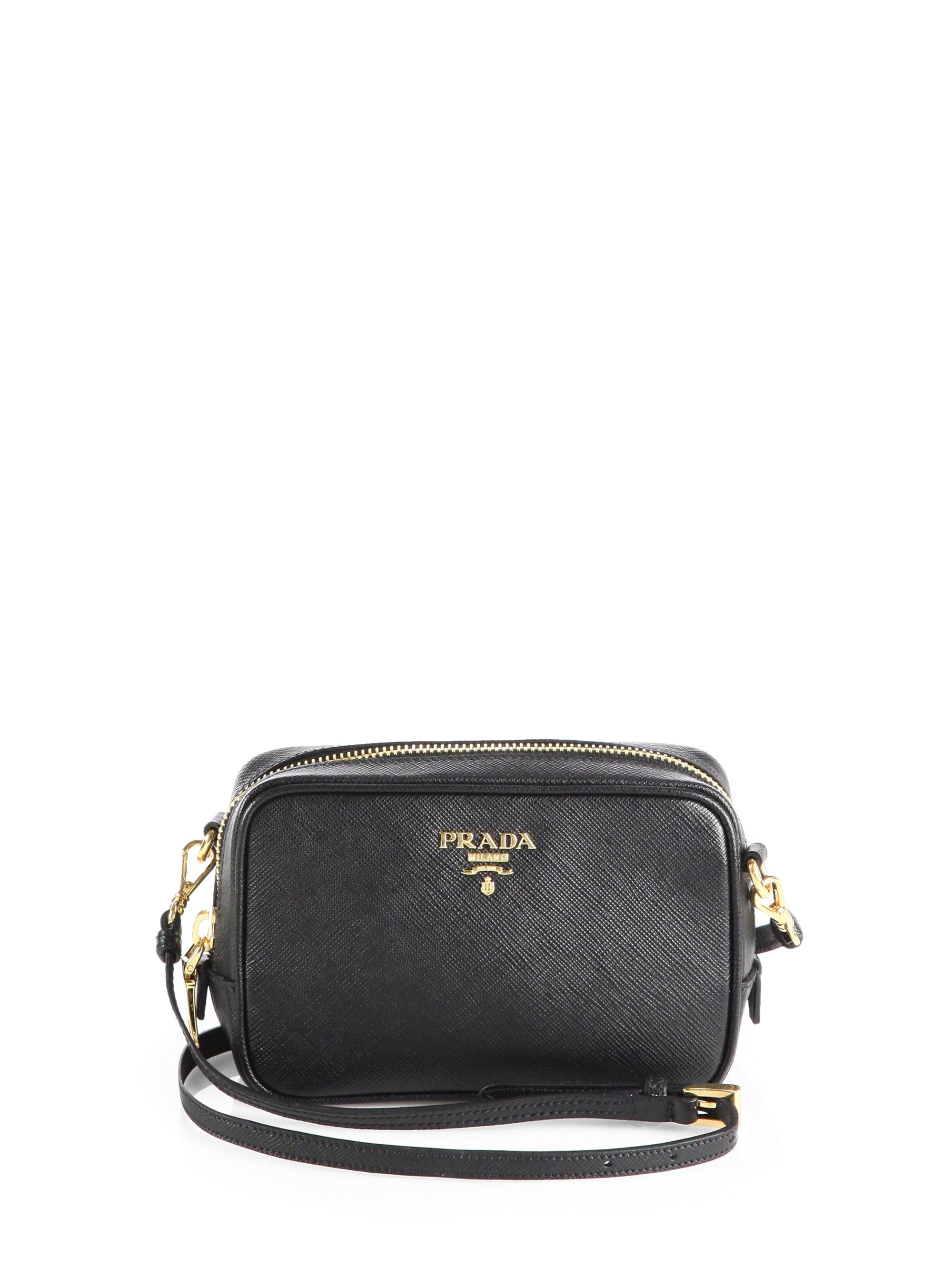 red prada messenger bag - Prada Saffiano Leather Camera Bag in Black (NERO-BLACK) | Lyst