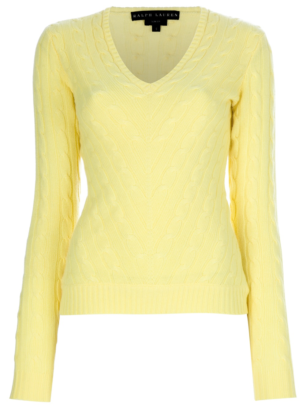 Ralph lauren black label Cable Knit Cashmere Sweater in Yellow | Lyst