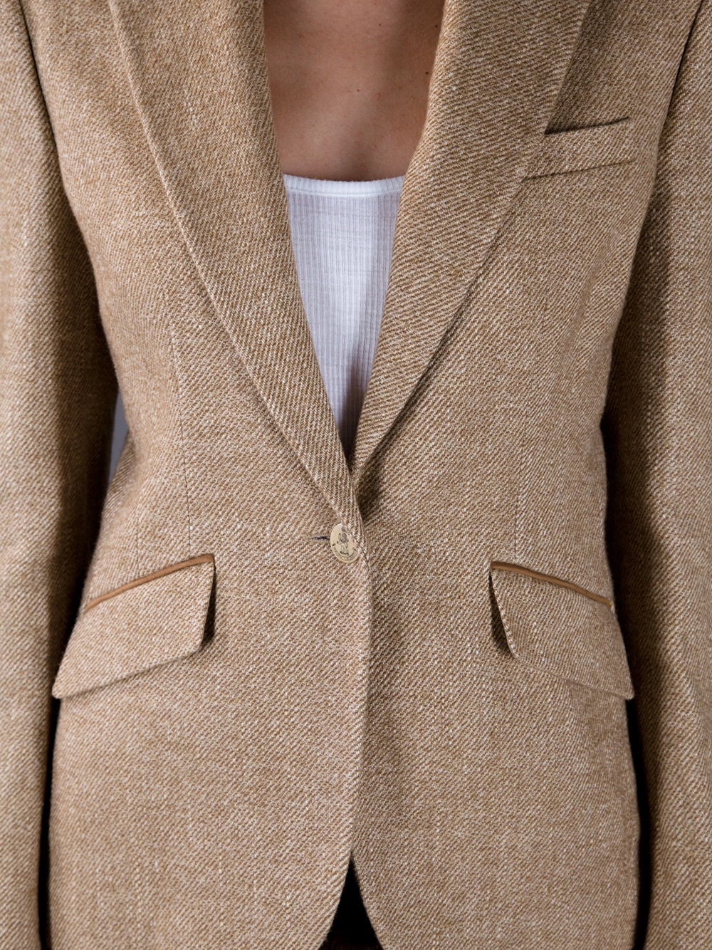 1c8df909 Ralph Lauren Blue Label Tweed Blazer in Natural - Lyst