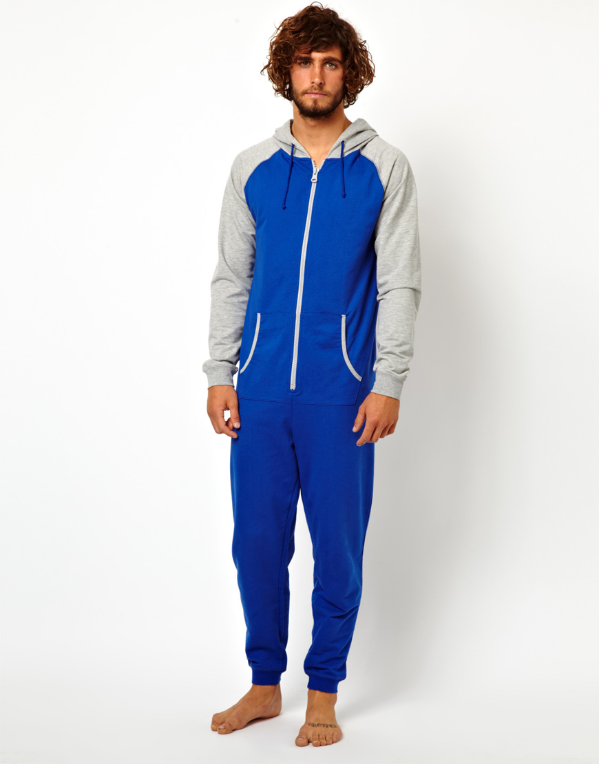 Asos Raglan Onesie In Blue For Men Lyst
