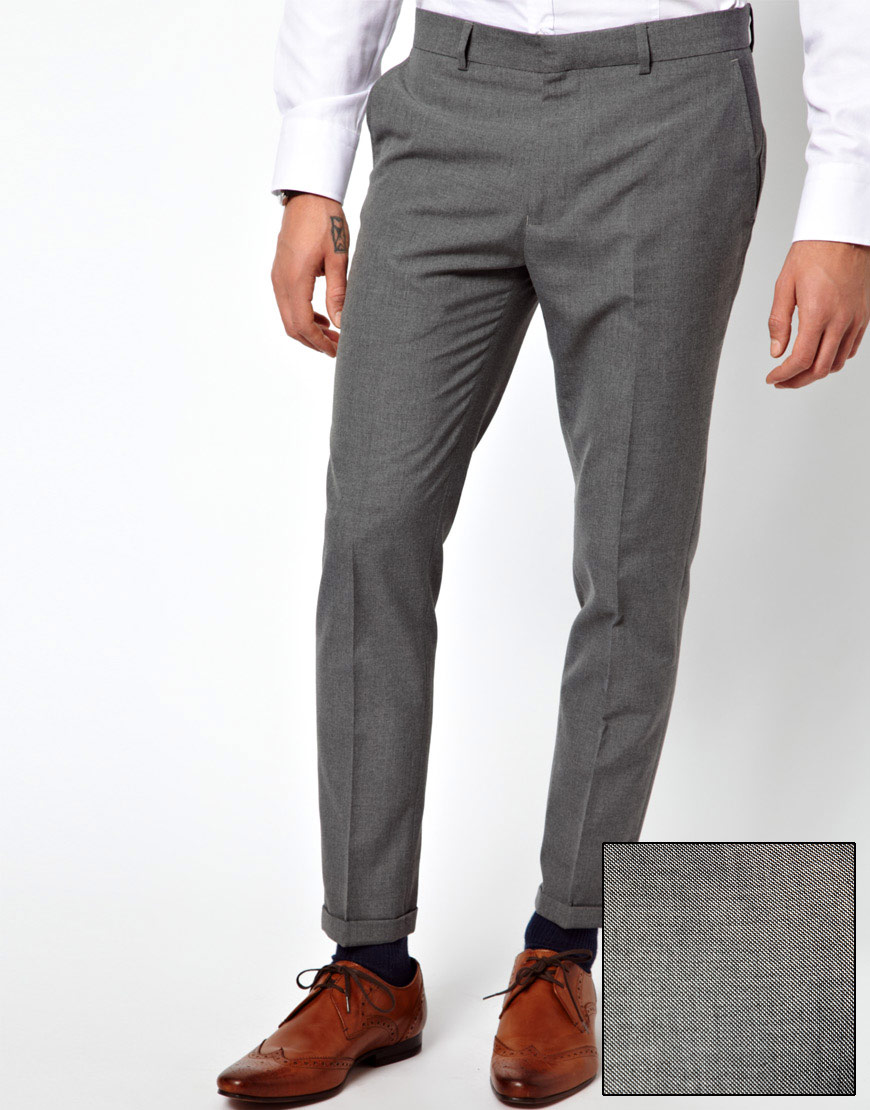 River island Ankle Grazer Trousers in Gray for Men | Lyst