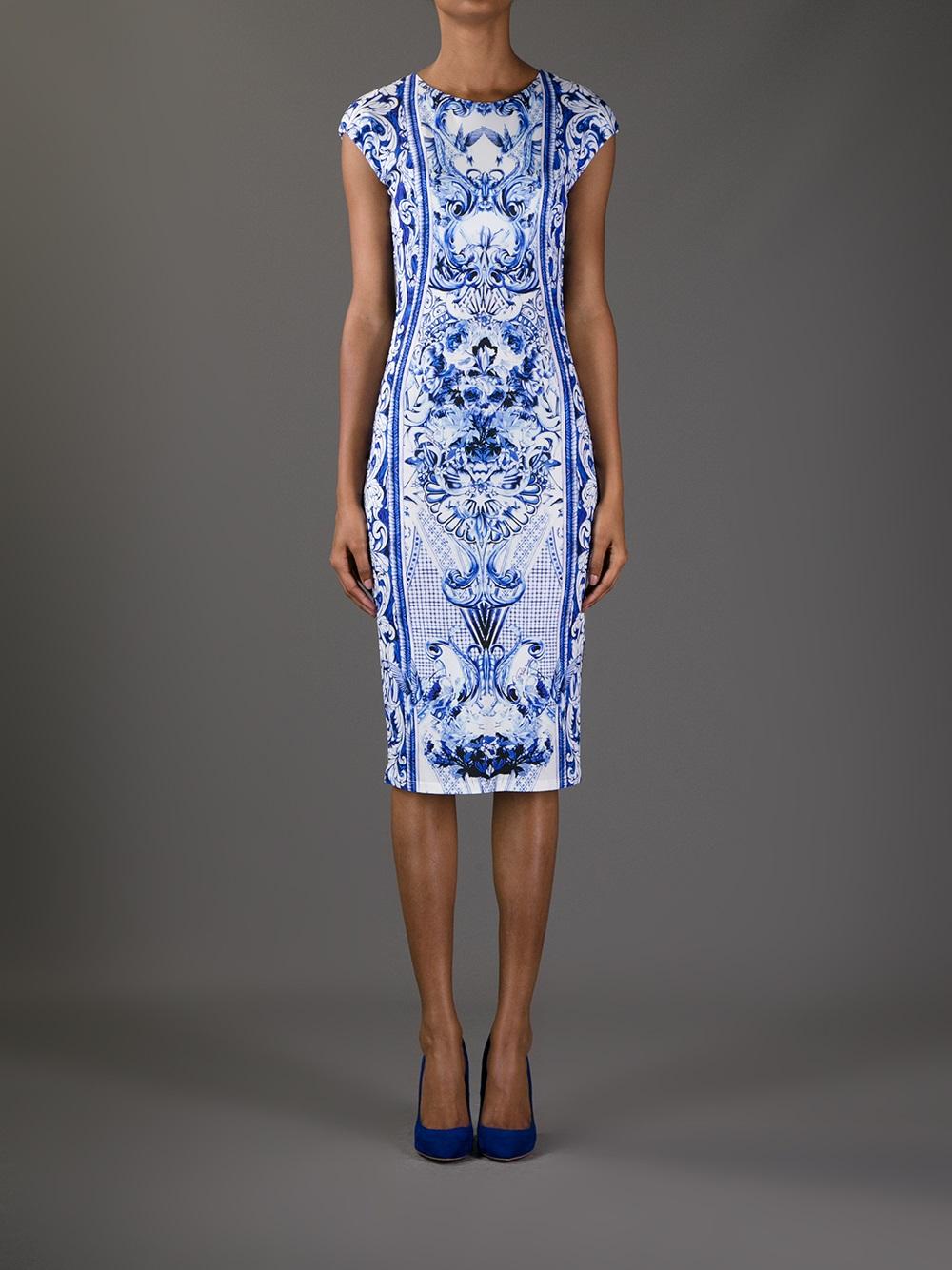 Roberto Cavalli Printed Dress In White Lyst