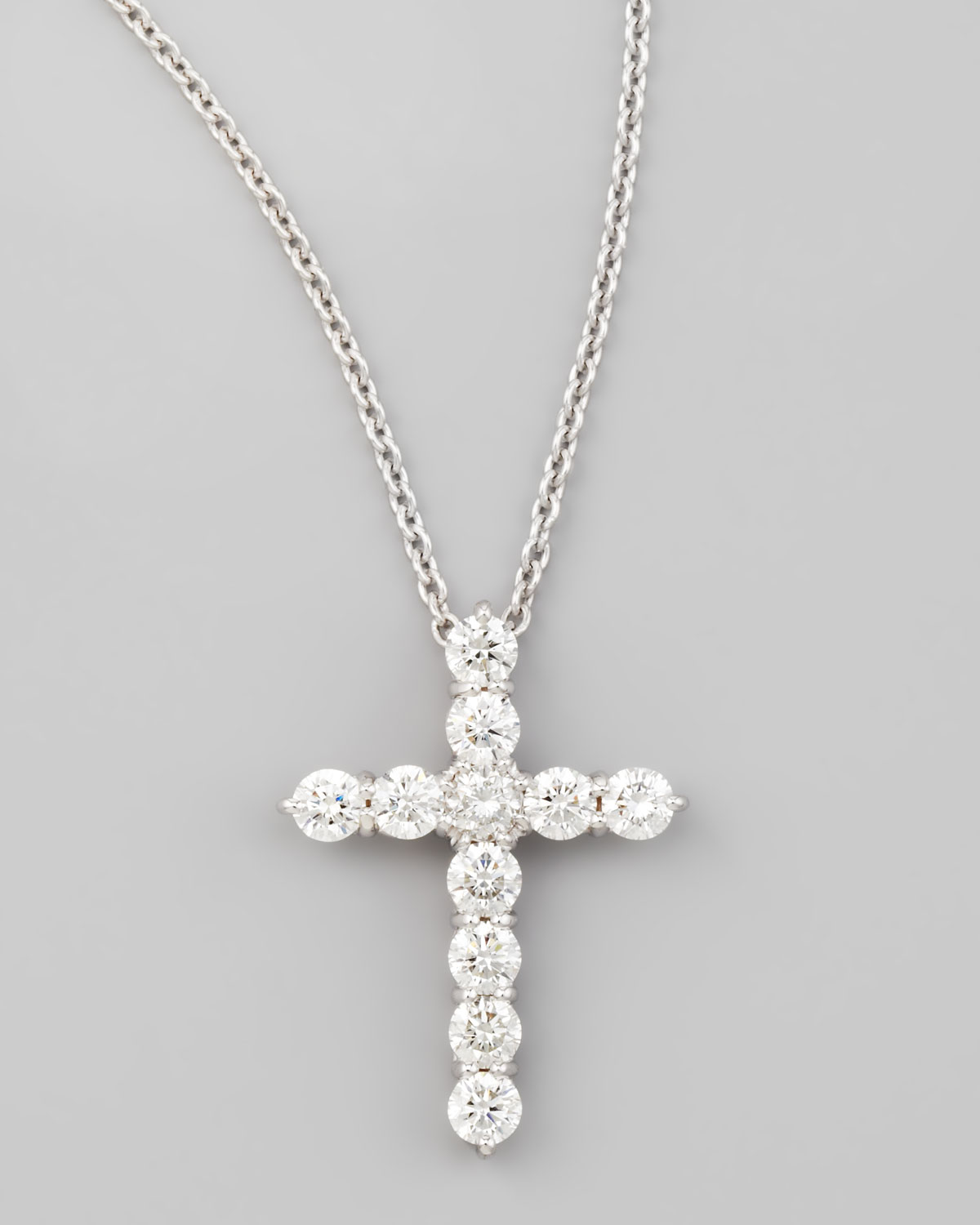 Lyst roberto coin 18 white gold diamond cross pendant necklace in gallery aloadofball Image collections