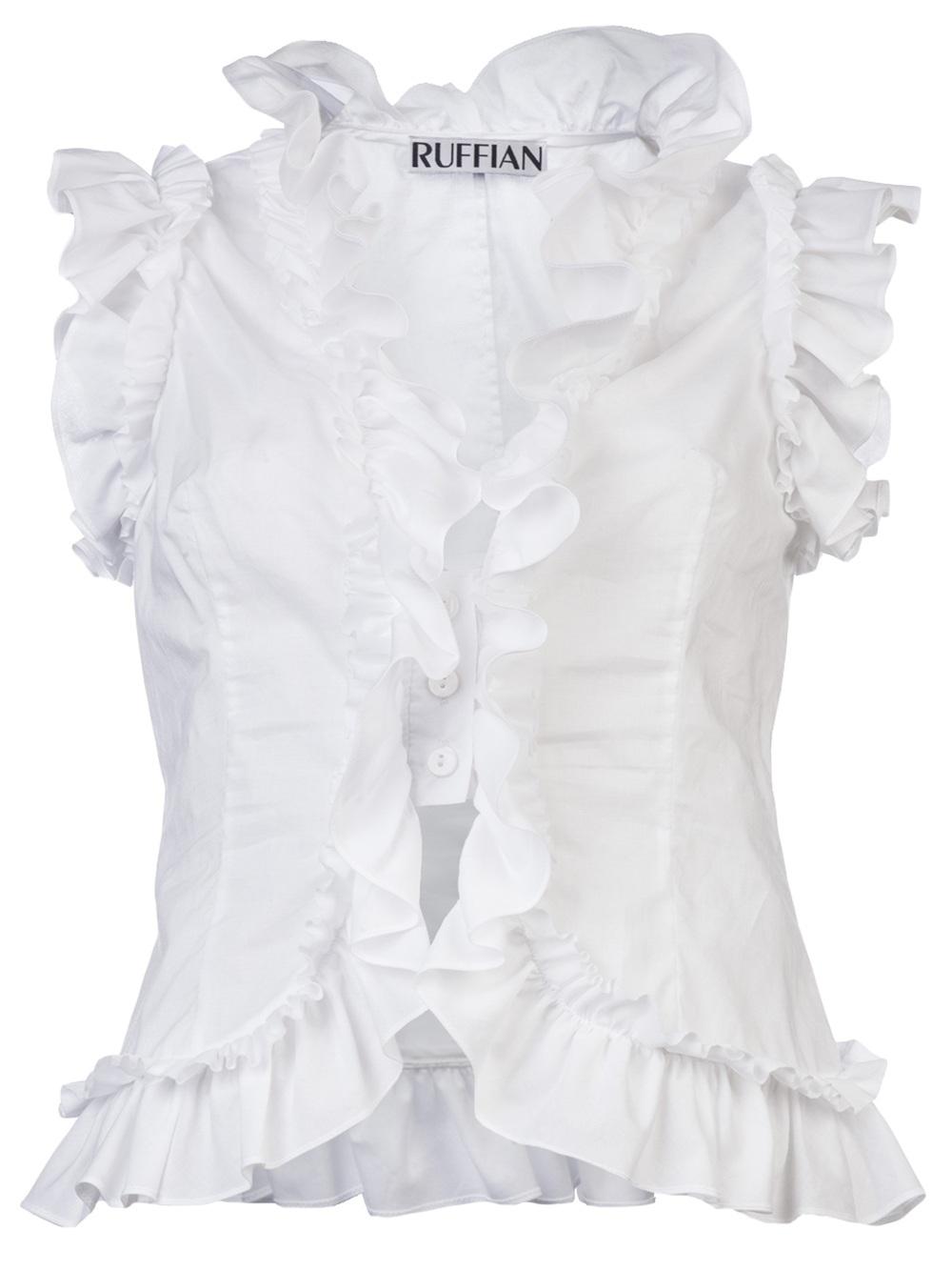Ruffian Sleeveless Ruffle Shirt In White Lyst
