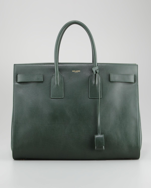 Favorit Saint laurent Classic Sac De Jour Leather Tote Bag Green in Green  NP56