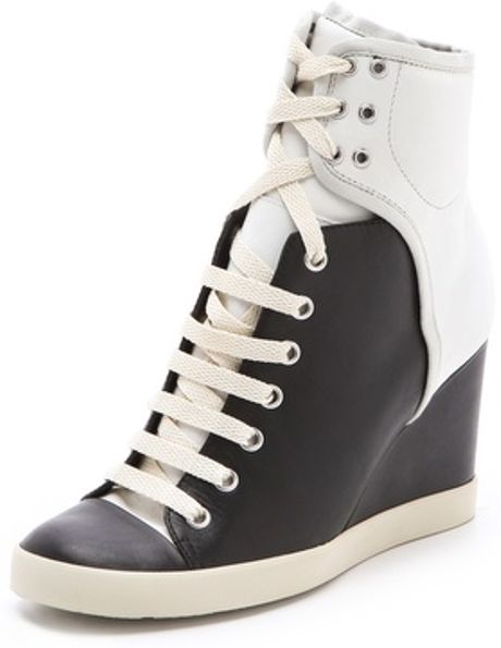 See By Chloé Two Tone Wedge Sneakers in Black