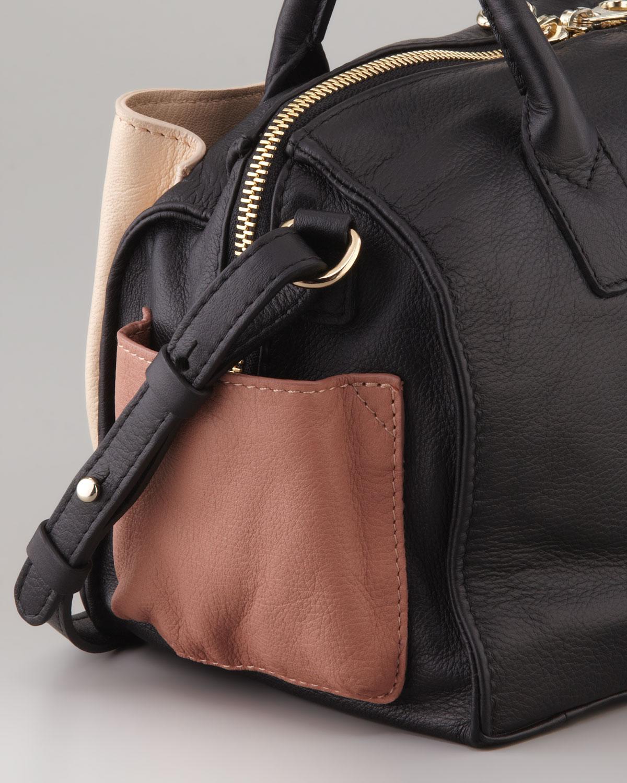 chloe bags - See by chlo�� Nellie Colorblock Satchel Bag in Black (BLACK/WHITE ...