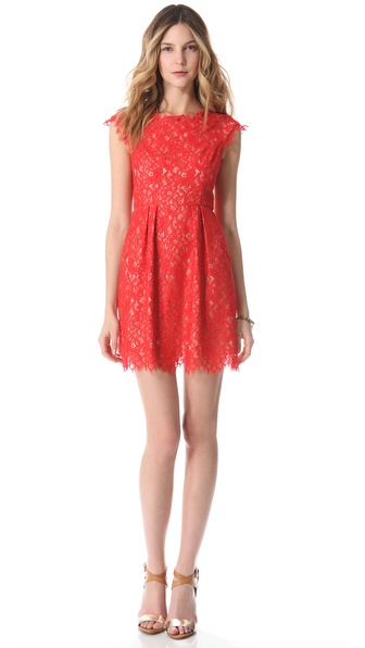 Shoshanna Lace Ceclie Dress in Red  Lyst