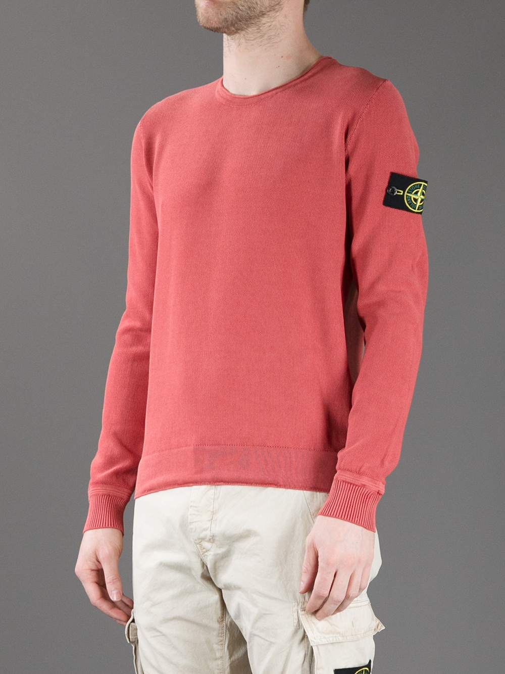 Stone island Brand Patch Sweater in Red for Men | Lyst