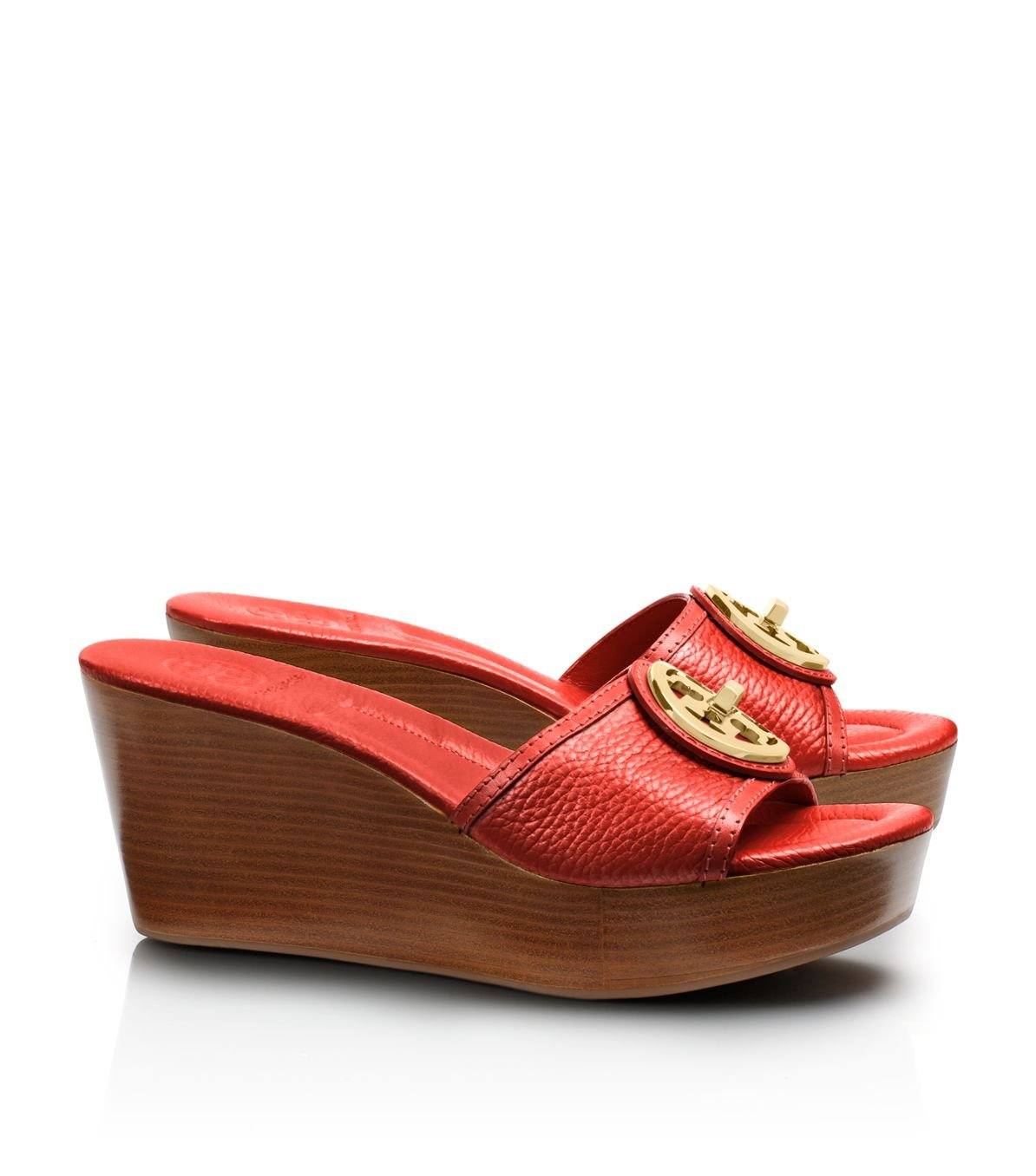 e36425dc398e Tory Burch Selma Mid Wedge Slide in Red - Lyst