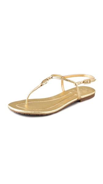 Lyst Tory Burch Emmy Flat Thong Sandals In Metallic