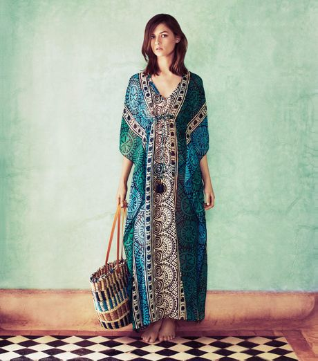 Tory burch tofino long caftan in multicolor multi cerros for Tory burch fashion island